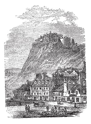 Edinburgh Castle in Scotland, vintage engraving